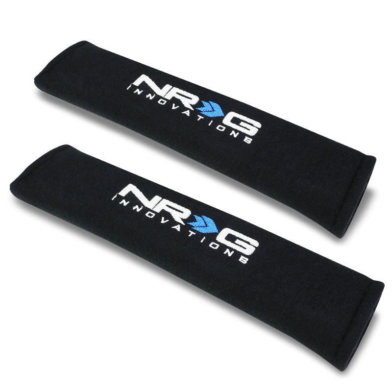 "2xNRG Black Universal Race Cotton 2.7""x11"" Seat Belt harness Shoulder Pads Cover-Interior-BuildFastCar"