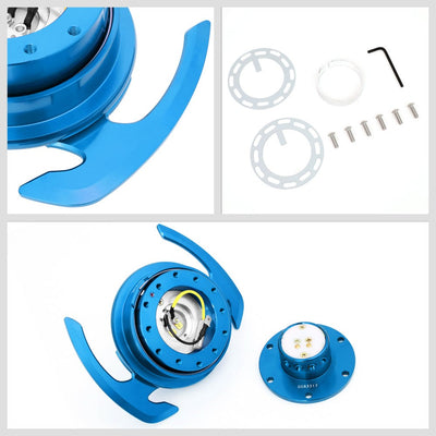 NRG Gen4.0 Blue Anodized Aluminum Steering Wheel Quick Release Adapter SRK-700BL-Steering Wheels & Accessories-BuildFastCar