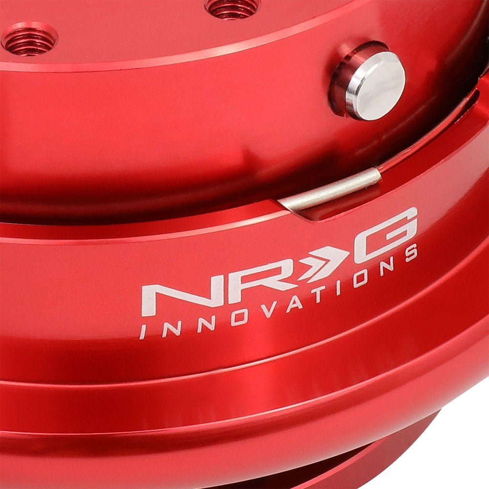 NRG Gen 4.0 Red Anodized Aluminum Steering Wheel Quick Release Adapter SRK-700RD-Steering Wheels & Accessories-BuildFastCar