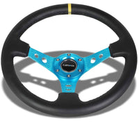 "Blue Round Holes/Yellow Stripe 350mm 3"" Deep ST-006NB-Y NRG Steering Wheel+Horn-Interior-BuildFastCar"