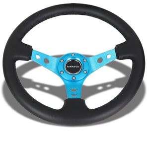 "Black Leather/Blue Round Holes 350mm 3"" Deep ST-006NB NRG Steering Wheel+Horn-Interior-BuildFastCar"