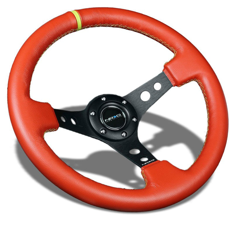 "Red Leather/Black Round Hole 350mm 3"" Deep ST-006RR-YS-Y NRG Steering Wheel+Horn-Interior-BuildFastCar"
