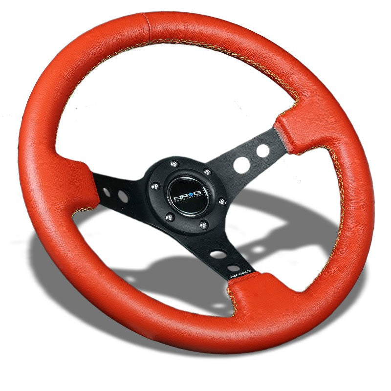 "Red Leather/ Round Holes Spoke 350mm 3"" Deep ST-006RR-YS NRG Steering Wheel+Horn-Interior-BuildFastCar"