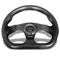 NRG ST-009CF-BK Carbon FiberD-Shape Flat 3 Spoke Steering Wheel+Horn Button-Interior-BuildFastCar