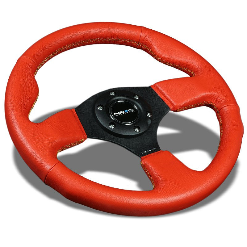 Red Grip Leather/Yellow Stitch 320mm ST-012RR-YS NRG Steering Wheel+Horn Button-Interior-BuildFastCar