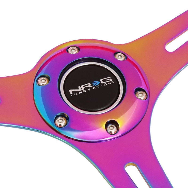 NRG 350mm Neo Pink/Neochrome 3-Spoke 6-Bolt Racing Steering Wheel+Horn Button-Steering Wheels & Accessories-BuildFastCar