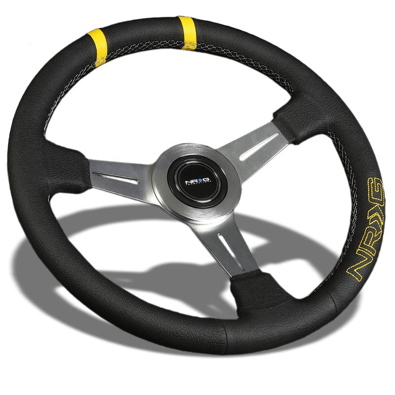 Silver Slit Hole/Yellow Stripe 350mm ST-028BK-Y NRG Steering Wheel+Horn Button-Interior-BuildFastCar