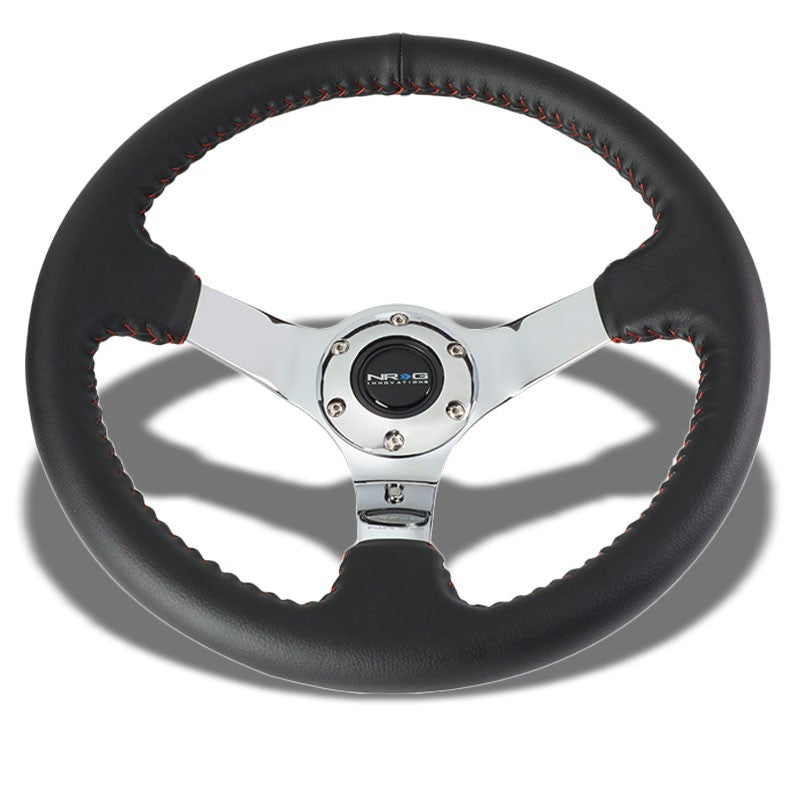 "Black Leather/Chrome Spoke Vintage 350mm 2"" Deep ST-036CH NRG Steering Wheel-Interior-BuildFastCar"