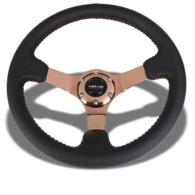 "Black Leather/Rose Gold Vintage 350mm 3"" Deep ST-036RG NRG Steering Wheel+Horn-Interior-BuildFastCar"