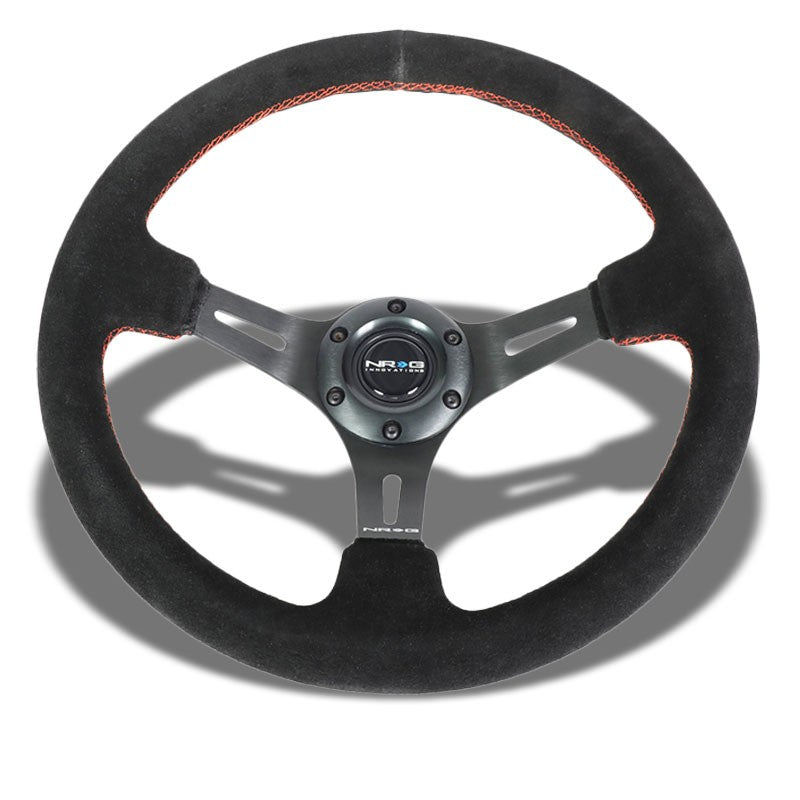 "Black Suede/Black Slit Hole 350mm 3"" Deep ST-055S-BKRS NRG Steering Wheel+Horn-Interior-BuildFastCar"
