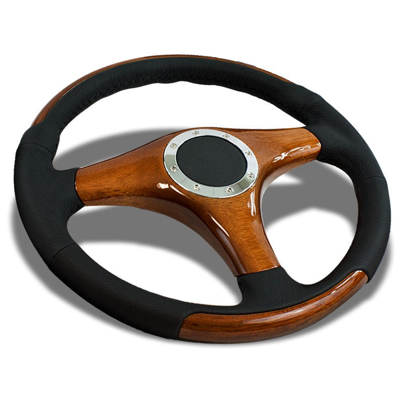 Black Leather/Wood Frame 350mm ST-055 Classic NRG Steering Wheel+Horn Button-Interior-BuildFastCar