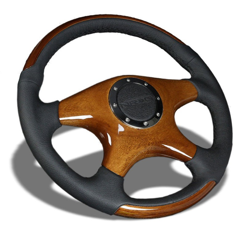 Black Leather/Brown Wood Quad-Spoke 350mm ST-085 NRG Steering Wheel+Horn Button-Interior-BuildFastCar