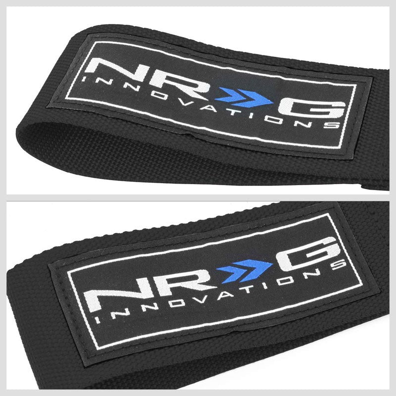 NRG Black TOW-131BK Front/Rear Nylon Tow Strap Tow Hook Kit For 09-13 Honda Fit-Truck & Towing-BuildFastCar-BFC-NRG-TOW-131BK
