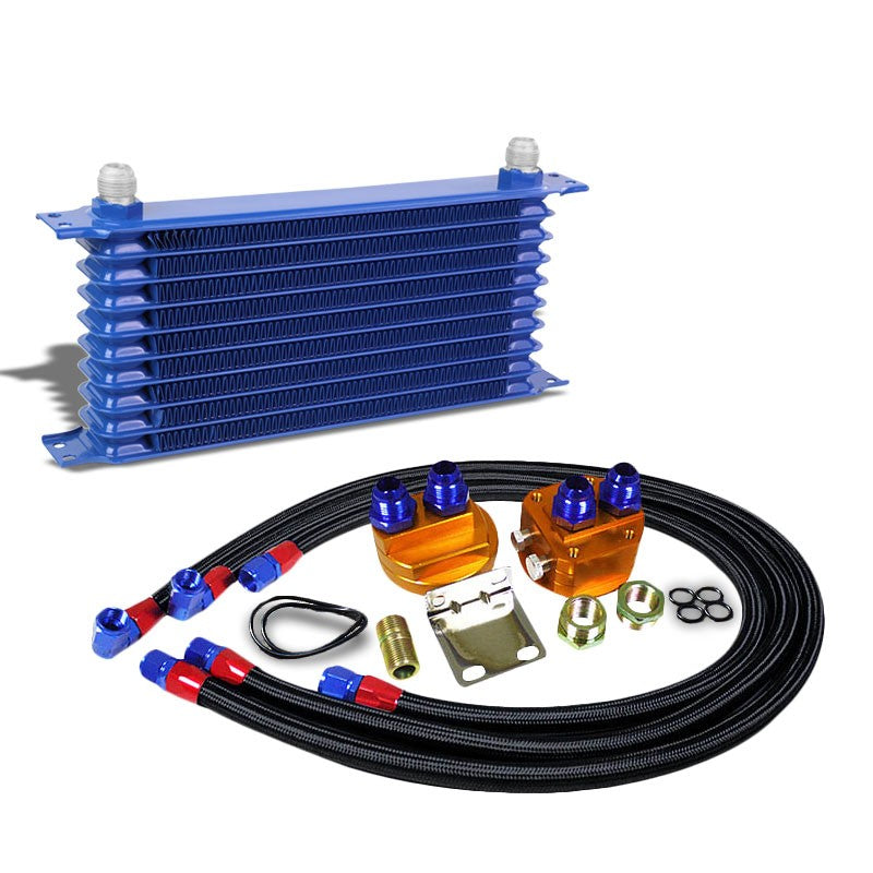 10 Row 10AN Blue Aluminum Engine/Transmission Oil Cooler+Black Relocation Kit-Performance-BuildFastCar
