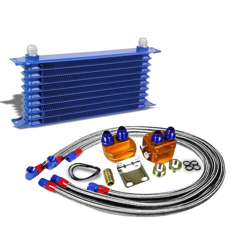 10 Row 10AN Blue Aluminum Engine/Transmission Oil Cooler+Silver Relocation Kit-Performance-BuildFastCar