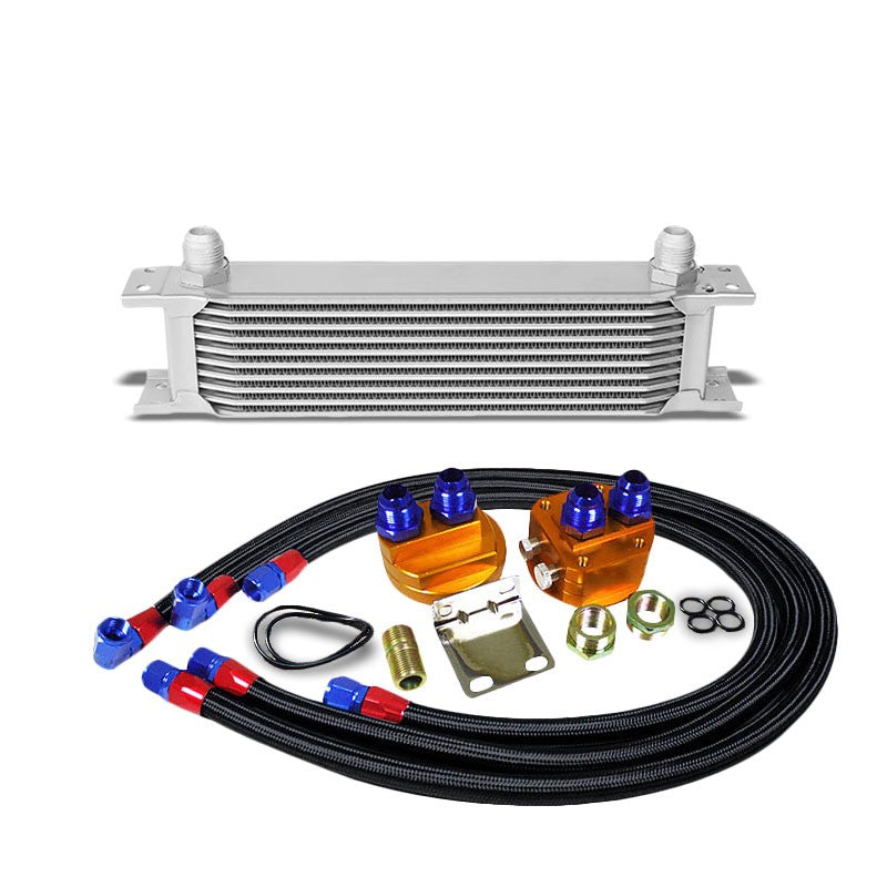 10 Row 10AN Silver Aluminum Engine/Transmission Oil Cooler+Black Relocation Kit-Performance-BuildFastCar