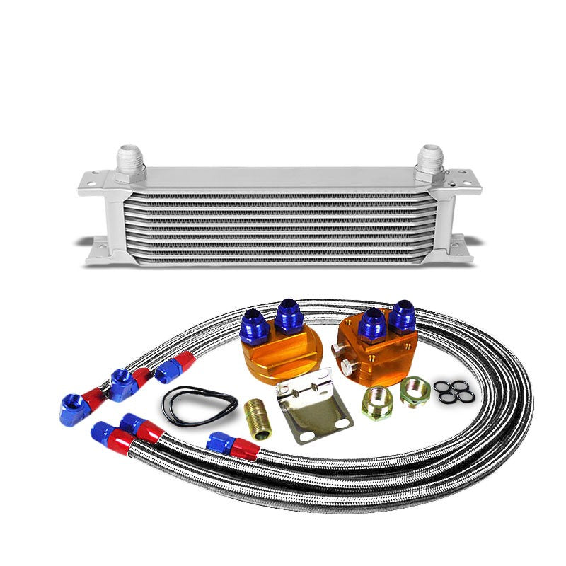 10 Row 10AN Silver Aluminum Engine/Transmission Oil Cooler+Silver Relocation Kit-Performance-BuildFastCar