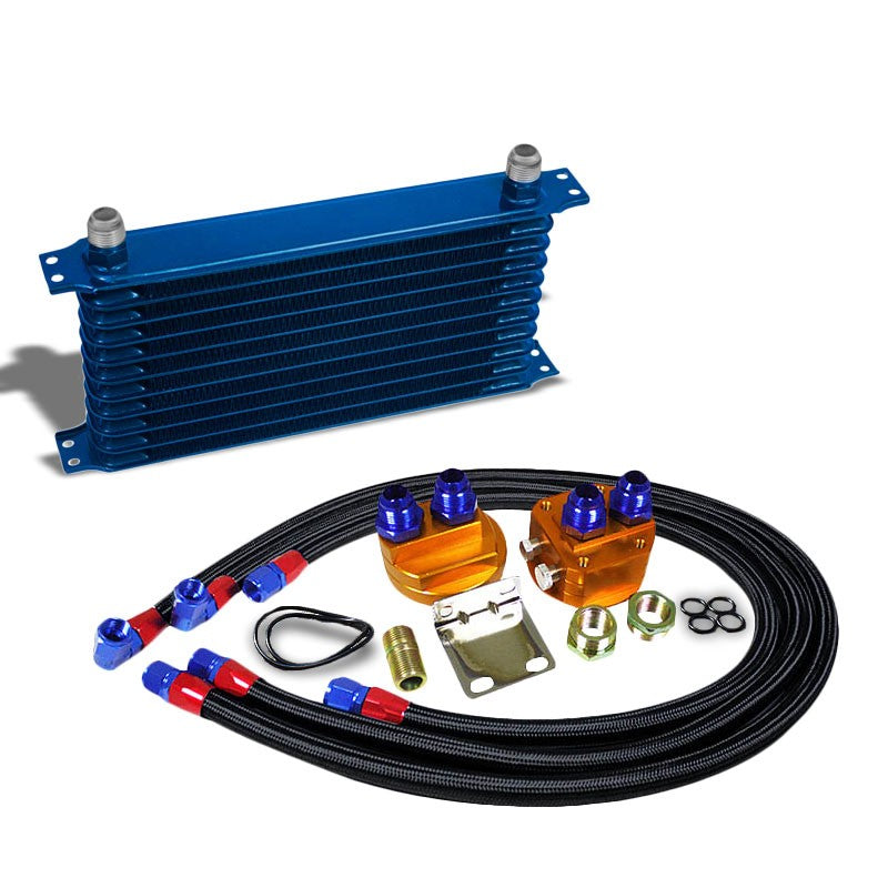 11 Row 10AN Blue Aluminum Engine/Transmission Oil Cooler+Black Relocation Kit-Performance-BuildFastCar