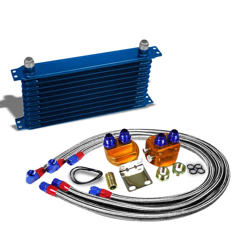 11 Row 10AN Blue Aluminum Engine/Transmission Oil Cooler+Silver Relocation Kit-Performance-BuildFastCar