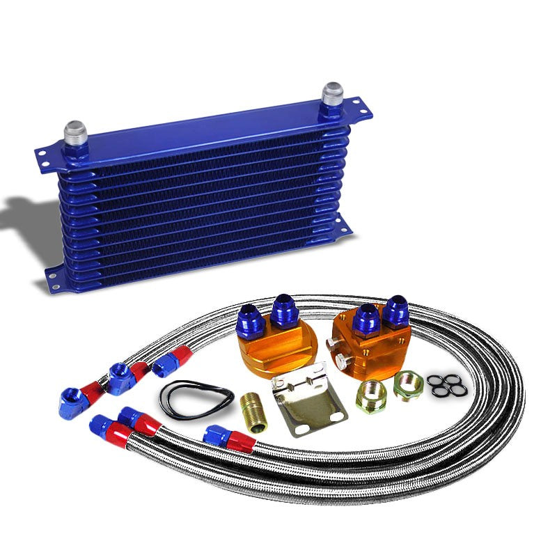 12 Row 10AN Blue Aluminum Engine/Transmission Oil Cooler+Silver Relocation Kit-Performance-BuildFastCar