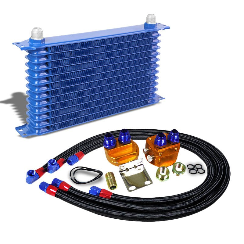 13 Row 10AN Blue Aluminum Engine/Transmission Oil Cooler+Black Relocation Kit-Performance-BuildFastCar