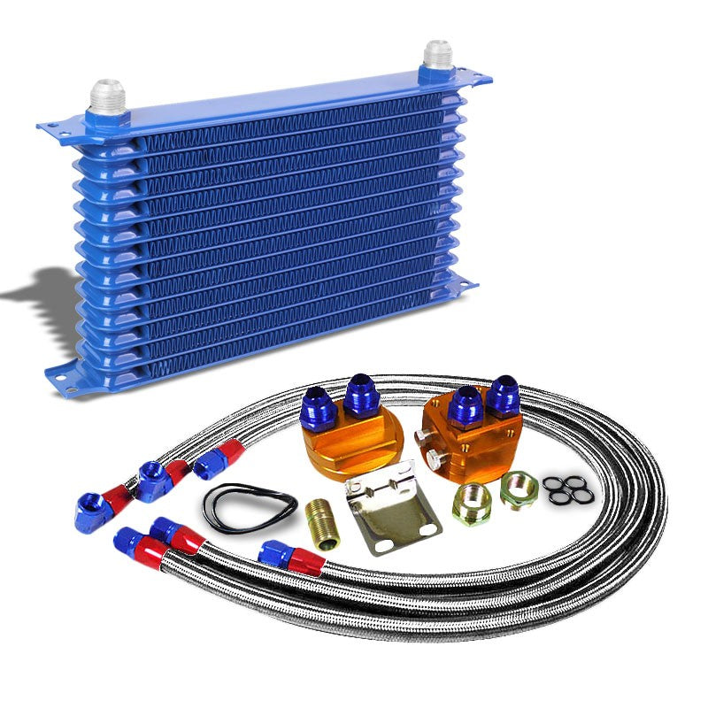 13 Row 10AN Blue Aluminum Engine/Transmission Oil Cooler+Silver Relocation Kit-Performance-BuildFastCar