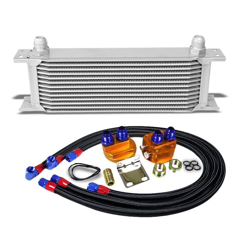 13 Row 10AN Silver Aluminum Engine/Transmission Oil Cooler+Black Relocation Kit-Performance-BuildFastCar