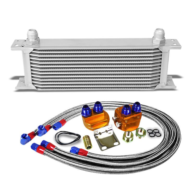 13 Row 10AN Silver Aluminum Engine/Transmission Oil Cooler+Silver Relocation Kit-Performance-BuildFastCar