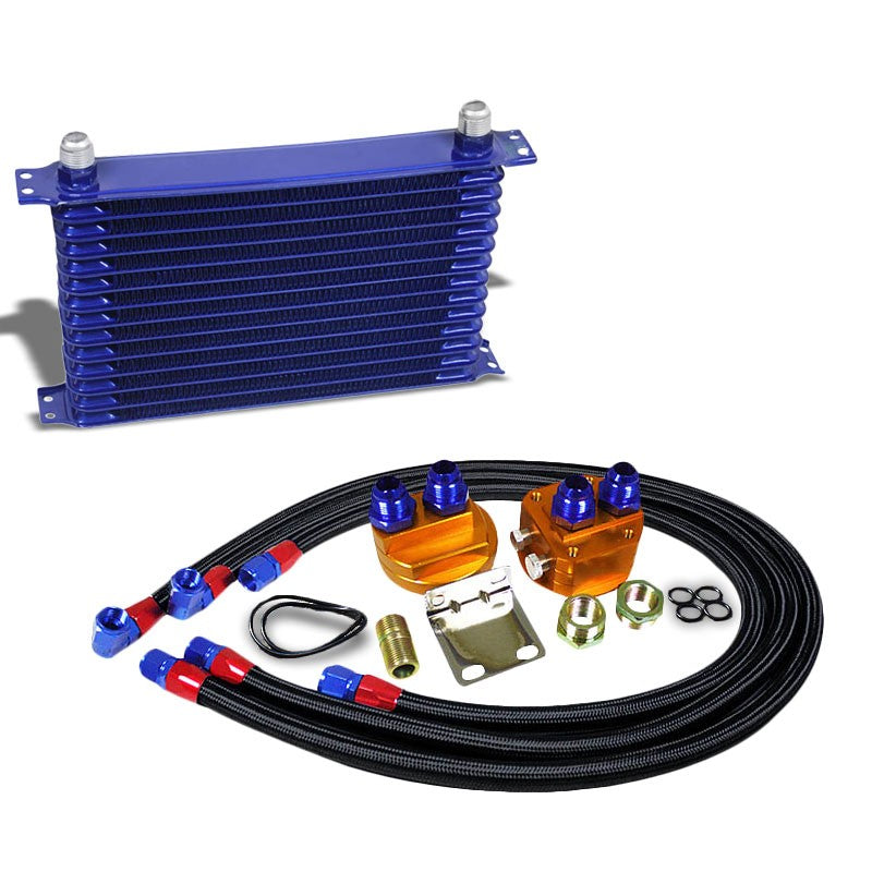14 Row 10AN Blue Aluminum Engine/Transmission Oil Cooler+Black Relocation Kit-Performance-BuildFastCar