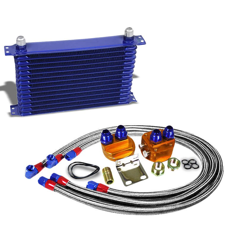 14 Row 10AN Blue Aluminum Engine/Transmission Oil Cooler+Silver Relocation Kit-Performance-BuildFastCar