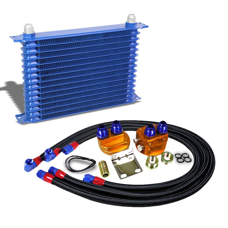 15 Row 10AN Blue Aluminum Engine/Transmission Oil Cooler+Black Relocation Kit-Performance-BuildFastCar