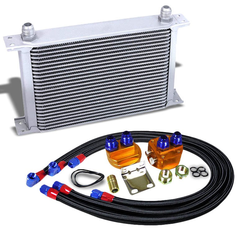 25 Row 10AN Silver Aluminum Engine/Transmission Oil Cooler+Black Relocation Kit-Performance-BuildFastCar