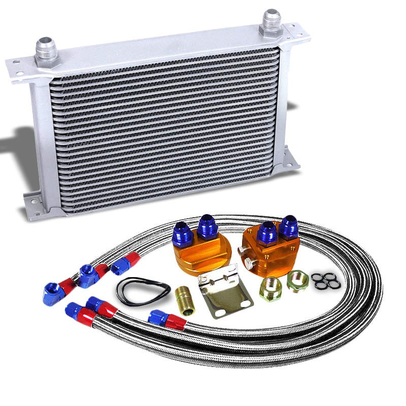 25 Row 10AN Silver Aluminum Engine/Transmission Oil Cooler+Silver Relocation Kit-Performance-BuildFastCar