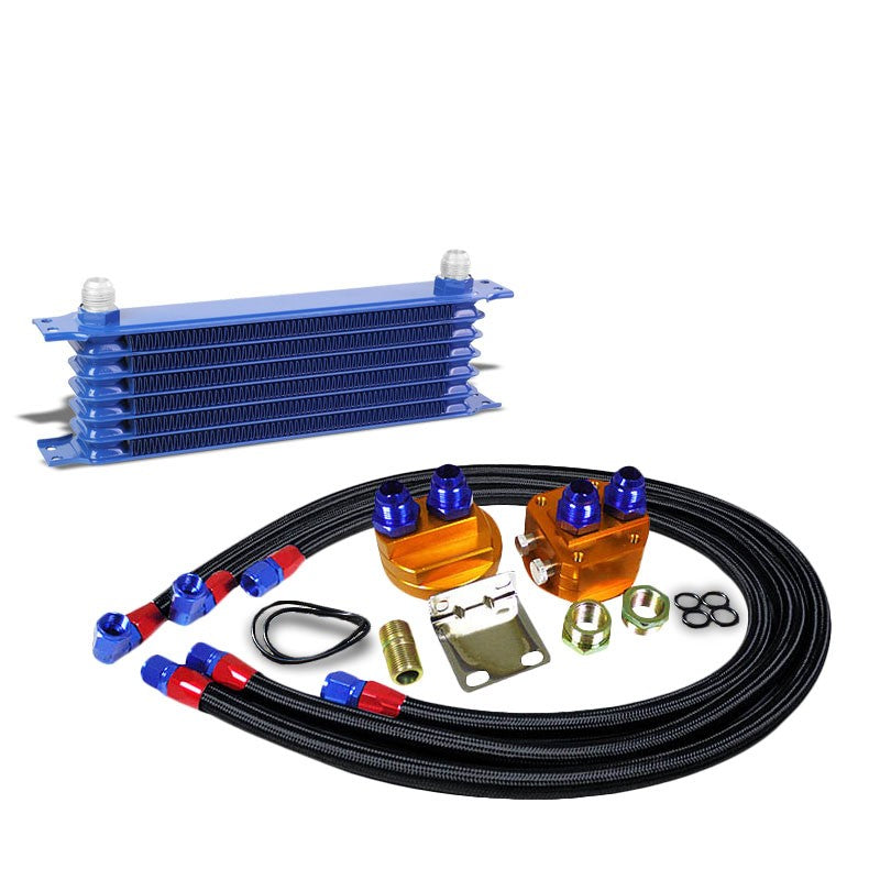 7 Row 10AN Blue Aluminum Engine/Transmission Oil Cooler+Black Relocation Kit-Performance-BuildFastCar