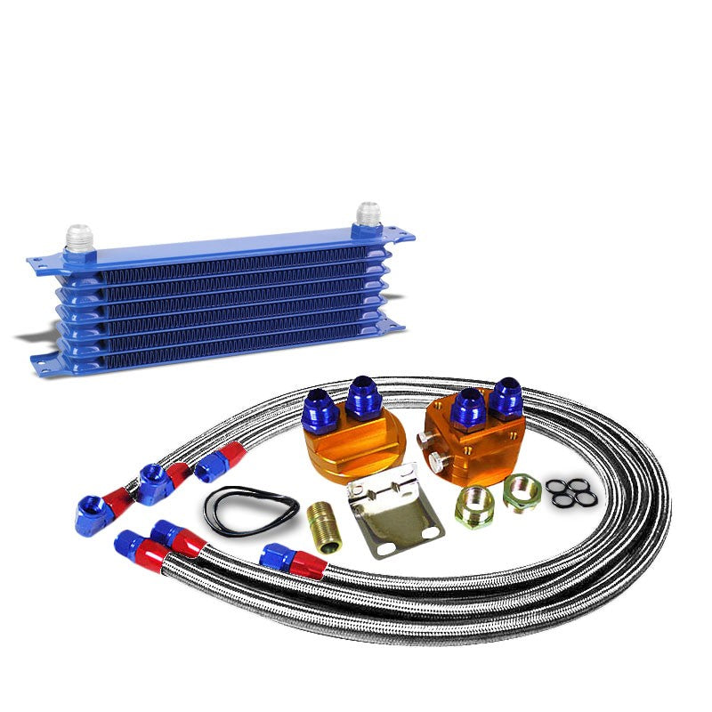 7 Row 10AN Blue Aluminum Engine/Transmission Oil Cooler+Silver Relocation Kit-Performance-BuildFastCar
