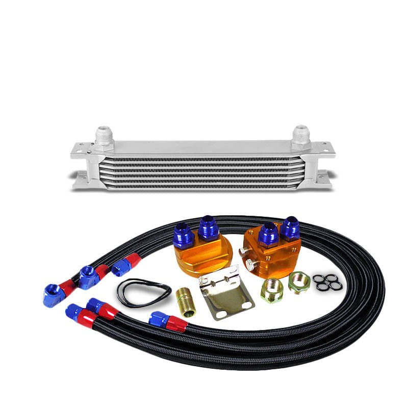 7 Row 10AN Silver Aluminum Engine/Transmission Oil Cooler+Black Relocation Kit-Performance-BuildFastCar