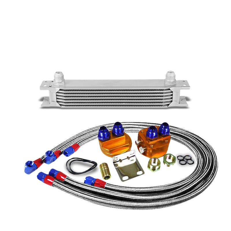7 Row 10AN Silver Aluminum Engine/Transmission Oil Cooler+Silver Relocation Kit-Performance-BuildFastCar