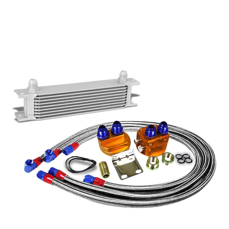 9 Row 10AN Silver Aluminum Engine/Transmission Oil Cooler+Silver Relocation Kit-Performance-BuildFastCar