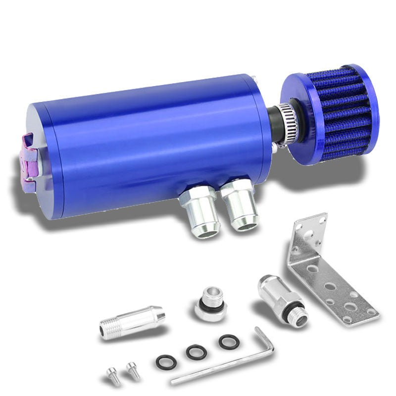 "140ML Universal Blue 5.5""L Round Engine Oil Catch Tank Can Reservoir+Air Filter-Performance-BuildFastCar"
