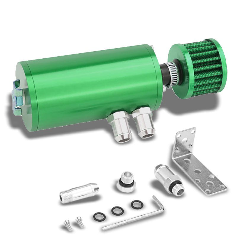 "140ML Universal Green 5.5""L Round Engine Oil Catch Tank Can Reservoir+Air Filter-Performance-BuildFastCar"