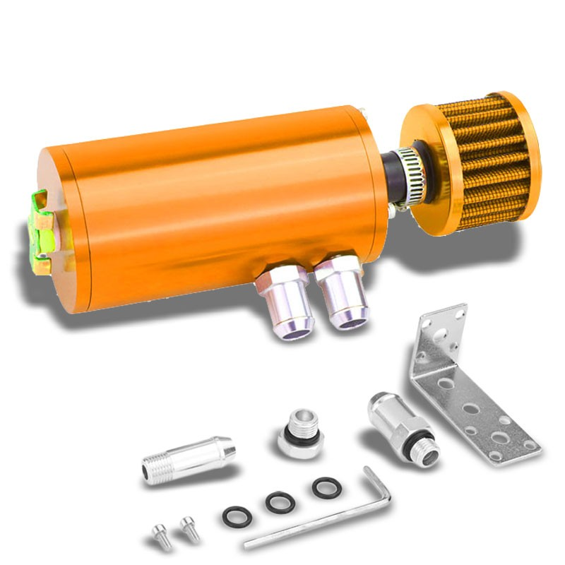 "140ML Universal Orange 5.5""L Race Engine Oil Catch Tank Can Reservoir+Air Filter-Performance-BuildFastCar"