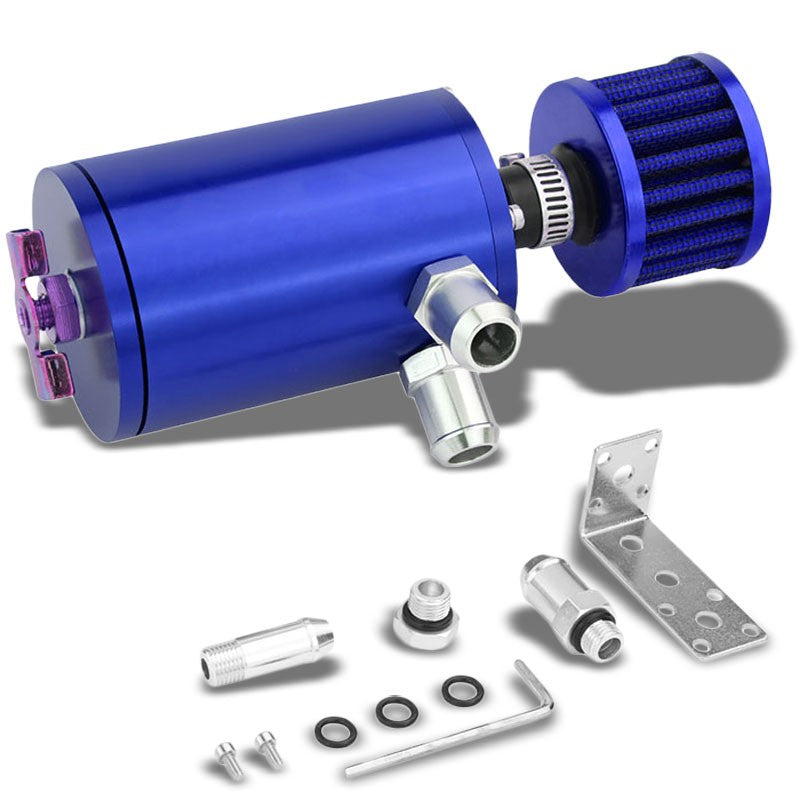 "100ML Universal Blue 4.1"" Round Engine Oil Catch Tank Can Reservoir+Air Filter-Performance-BuildFastCar"