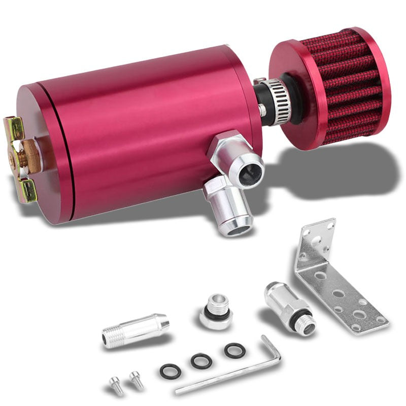 "100ML Universal Pink 4.1"" Round Engine Oil Catch Tank Can Reservoir+Air Filter-Performance-BuildFastCar"