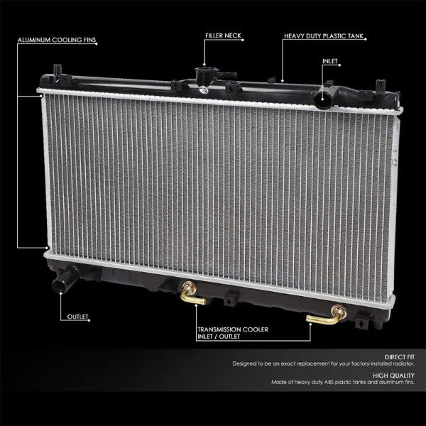 1-Row Black/Metallic Aluminum OEM Radiator Kit For 99-05 Mazda Miata AT-Performance-BuildFastCar