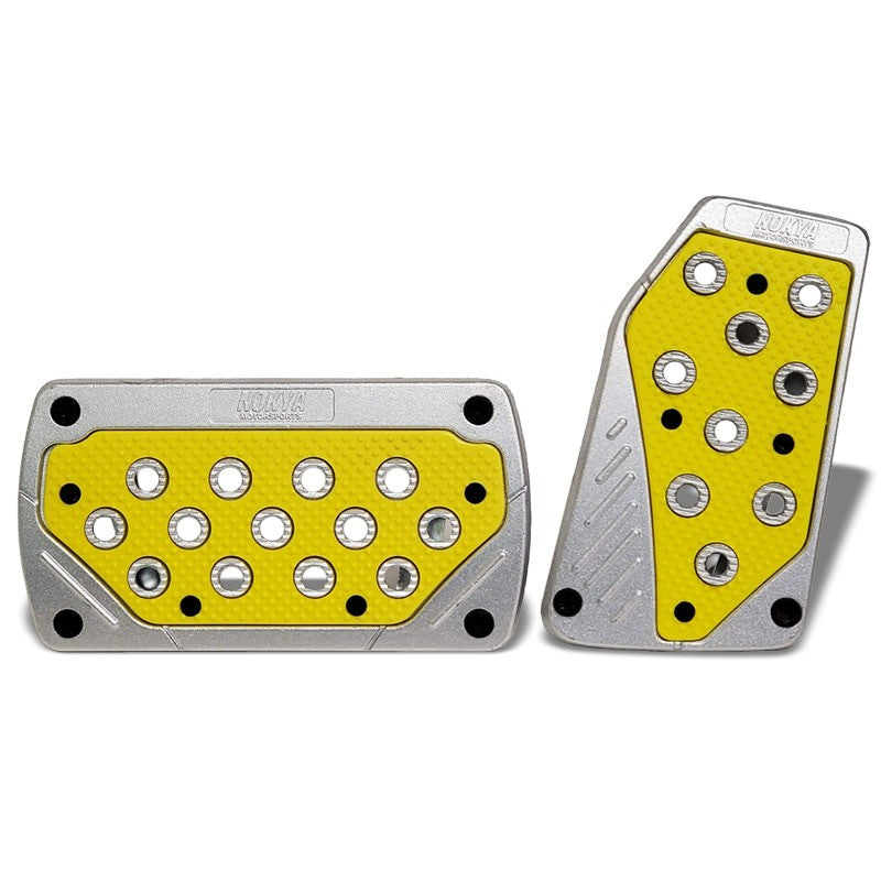 Nokya Yellow Brake/Gas Automatic AT Aluminum Race Foot Pedal Plates Cover Set-Pedals & Pads-BuildFastCar