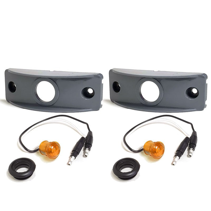 2X Peterson Amber Side Marker Light+Gray Side Surface Mount For Flat Surfaces-Trailer Light Parts-BuildFastCar-BFC-TTP-MSC-SMLC-0001-X2