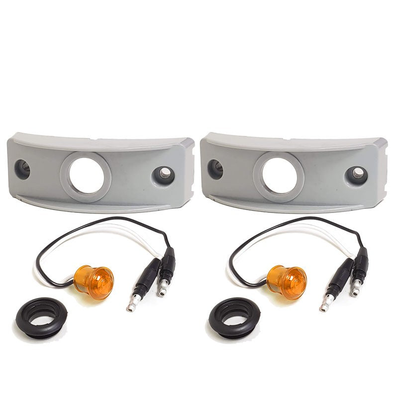 2X Peterson Amber Side Marker Light+Gray Side Surface Mount For Curved Surfaces-Trailer Light Parts-BuildFastCar-BFC-TTP-MSC-SMLC-0002-X2