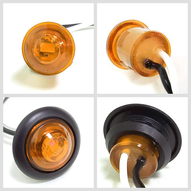 6X Peterson Amber Side Marker Light+Gray Side Surface Mount For Curved Surfaces-Trailer Light Parts-BuildFastCar-BFC-TTP-MSC-SMLC-0002-X6