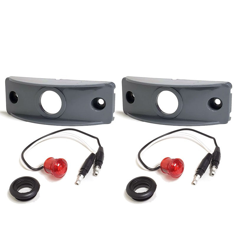 2X Peterson Red Side Marker Light+Gray Side Surface Mount For Flat Surfaces-Trailer Light Parts-BuildFastCar-BFC-TTP-MSC-SMLC-0003-X2
