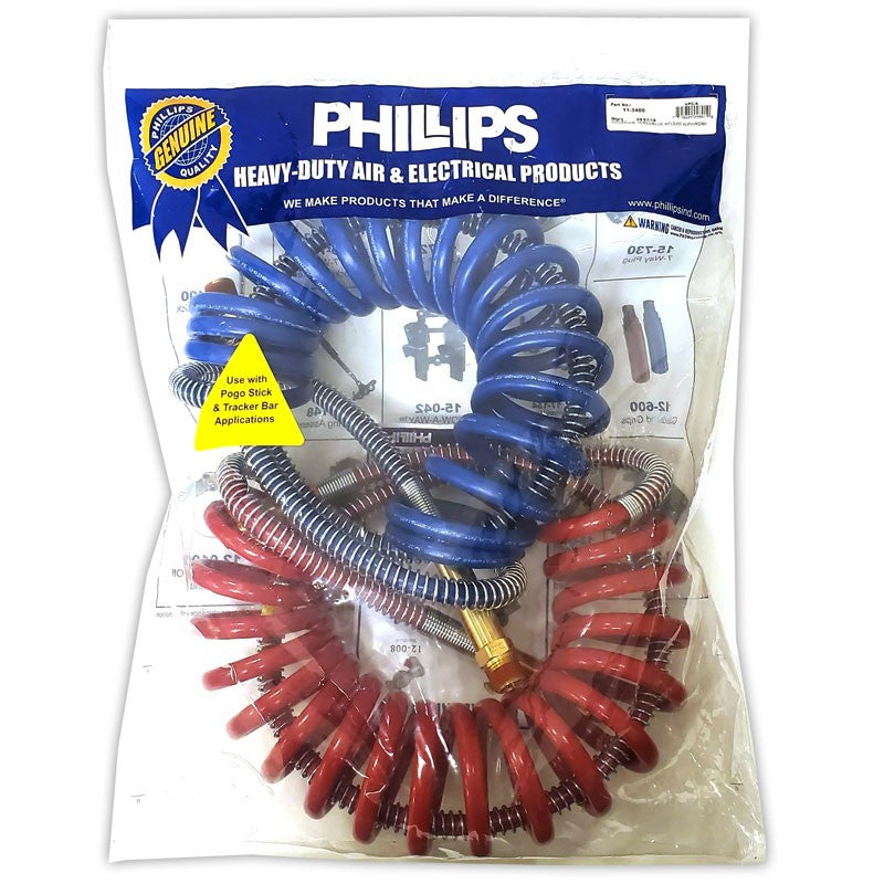 "Phillips 11-3400 Blue/Red Power Grip Coiled Air Brake Hose+40"" Lead For Trailer-Trailer Brake Parts-BuildFastCar-BFC-TTP-COAI-PHIL-11-3400"
